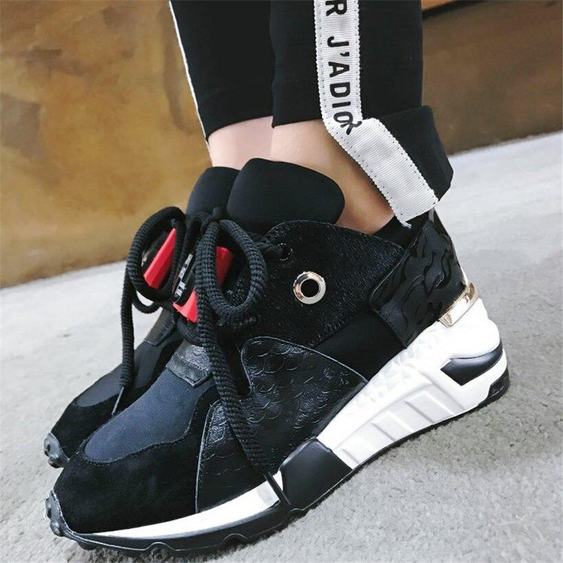 Dell'alto Pompe Di Rotonda Lace Casual Cuneo Mucca Nayiduyun Pelle Sneakers red2 Black1 In Donna Da Punta Scarpe black2 Della Piattaforma Up rose1 Traspirante Tallone axOP4q