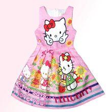 1bb809e14 JGVIKOTO Girls Dress 2018 New Summer Fashion Girls Dress Summer Beach  Floral Hello Kitty Party tutu Dresses Girls Clothing