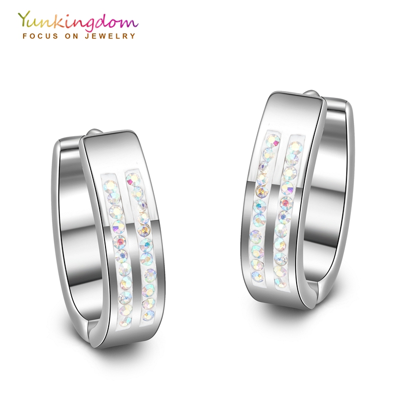 Yunkingdom cz crystal hoop earrings for women tungsten steel earring fashion women earrings UE0036