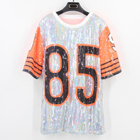 funny t shirts Women tshirt Digital Letter Adult Sequin Stage Costume Round Neck Costume Performance Show Cheerleading Uniform