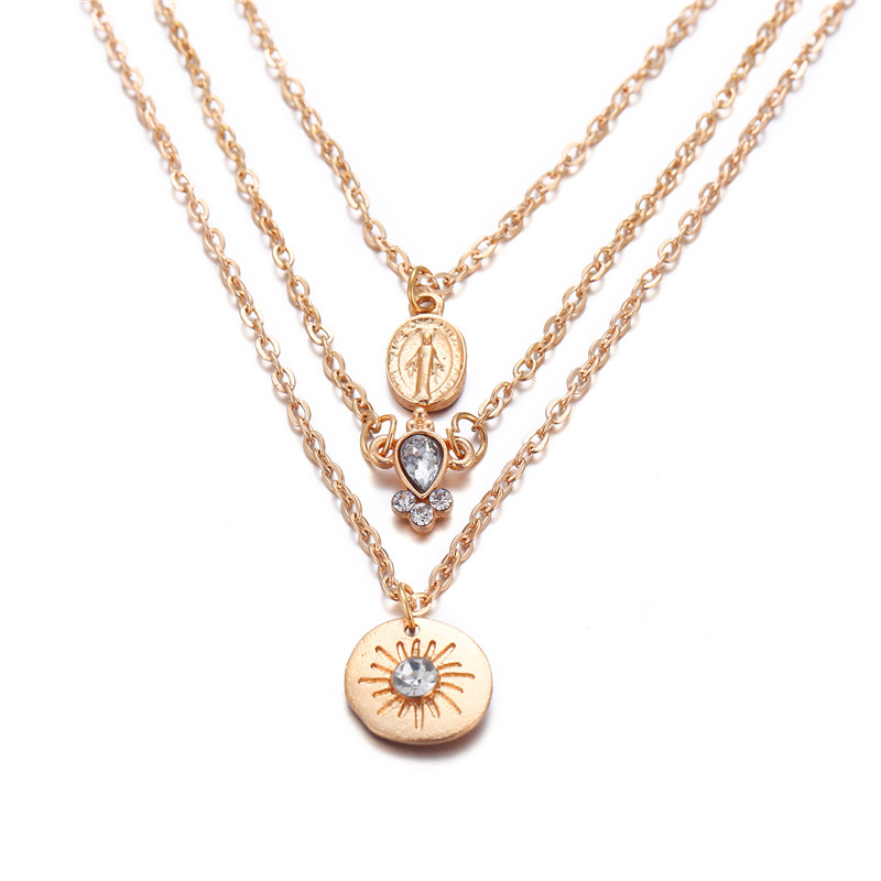 Многослойный Кристалл лунные ожерелья и кулоны для женщин винтажное очаровательное Золотое колье ожерелье богемное ювелирное изделие - Окраска металла: FCS942