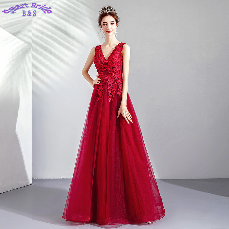 Long   Evening     Dresses   A-line V Neck Lace Tulle Beaded Women Vintage Birthday Party Floor Length 2019 In Stock LY89