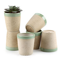 T4U 3.25 Inch Clay Glzed Round Cup Shaped succulent Cactus Plant Pot Flower Pot Container Planter Beige Package 1 Pack of 6