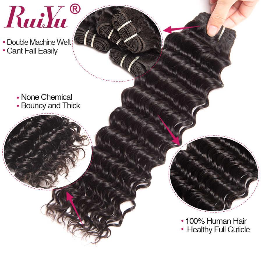Cabello RUIYU paquetes de onda profunda extensiones de cabello humano malayo 3 paquetes de armadura de cabello no Remy # 1B Color Natural puede teñido