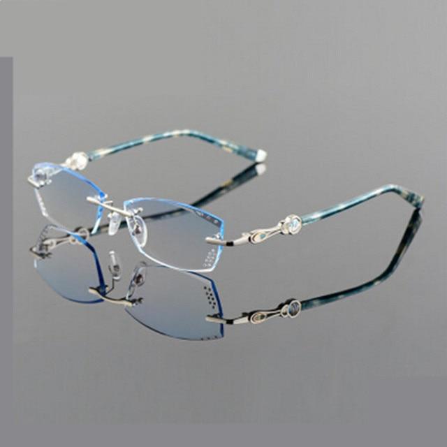 2016 New  Freeshipping Solid Eyeglass Frames Myopia Glasses Frame Women Rimless Eyeglasses Eye Box Ultra-light Discoloration