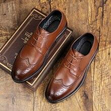 Мужские официальные туфли из натуральной кожи, размеры 37-48 Мужские модельные туфли-оксфорды, деловые свадебные туфли,# MPM6337-1