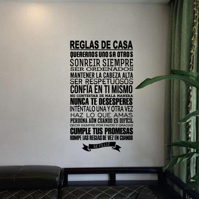 Spanish House Rules Wall Decals  Spanish Version Vinyl Wall Sticker     Spanish House Rules Wall Decals  Spanish Version Vinyl Wall Sticker Family  Quotes House Decor Free