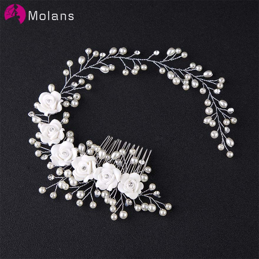 MOLANS Delicate Handmade Pearl Floral Headbands For Bride Wedding Ornament Alloy Twisted With Hair Comb For Temperament Women