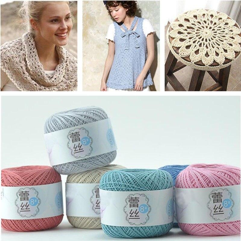 8 # Lace Yarn 50 G/ball 100% Cotton Hand Crochet Woven Yarn Weaving Crocheting DIY Yarns Apparel Sewing Fabric Knitting Yarn