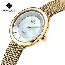 WWOOR Famous Brand Women Watches Stainless steel Golden Mesh Quartz Wristwatches Fashion Women Clock Ladies watch montre femme