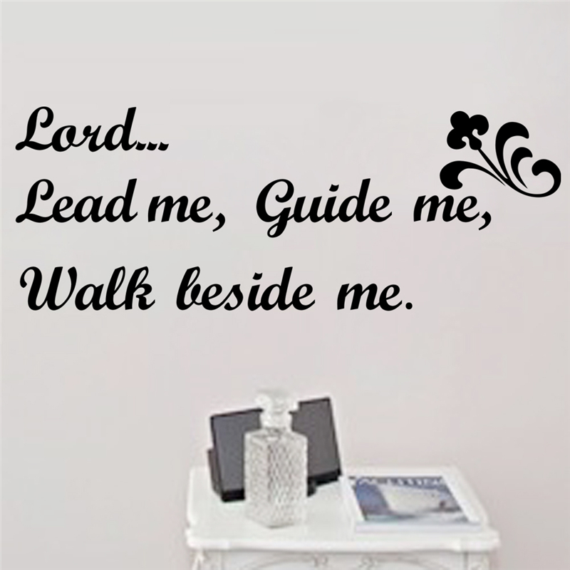 lead me guide me walk beside me vinyl quotes wall decals for living room wall art decor adesivos de parede diy sticker ...