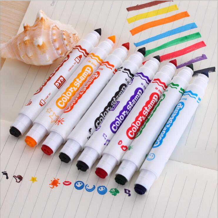 8 Colors Water Color Pen Brush Marker Highlighter Stamp Stationery Copic Markers Art Supplies Material In Highlighters From Office School On