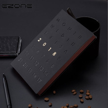 EZONE Creative Notebook Black Cover Note Book 2018 Planner Schedule Organizer Notepad Vintage Diary Book School Office Supplies