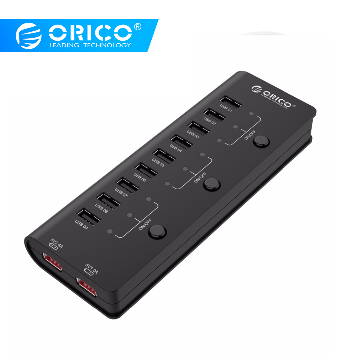 ORICO HF9US-2P-BK  9 Ports USB2.0 HUB With 2 Ports Charging 3 Power Switch For Tablet Cellphone With CE/FCC/3C/ROHS