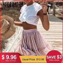 Affogatoo Casual polka dot ruffle summer pink skirt women A line high waist pleated short skirt Floral print chiffon beach skirt