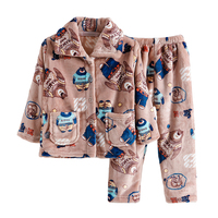 Coral Velvet Pajama Sets 2PC Coat Pants Sleepwear Robe Children S Sets Boy Autumn Winter Clothes