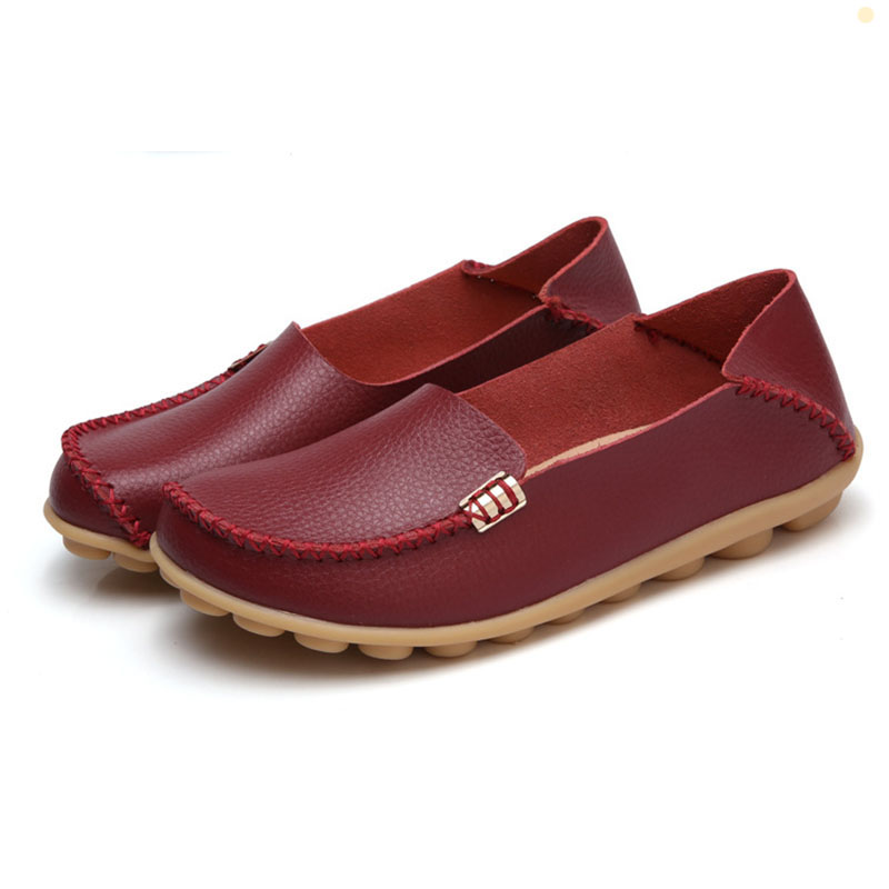 Women Flats Genuine Leather Colors  Women  Shoes Casual 2017 Fashion Breathable Slip-on Peas  Flat Shoes Plus Size 35-44