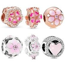 Fit Original Pandora Charms Silver WomenS Bracelet Jewelry DIY Making Gift New Rose Gold Pink Magnolia Bloom Bead