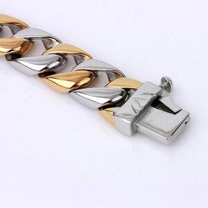 Image 4 - Dikke Ketting Solid Gold Kleur Rvs Mannen Armband Mannelijke Biker Skull Hand Sieraden Vriendschap Heren Armbanden & Bangles 2018