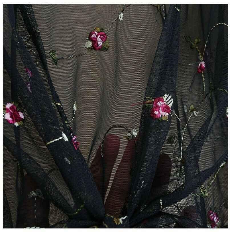 女性通気性刺繍チュールカーディガンブラウス夏薄型コートルースレーストップス