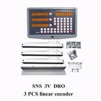高品質3軸デジタル表示精度0.001ミリメートル0.005ミリメートルcncリニアスケール/リニア定規セットdroスパーク機sns 3ボル