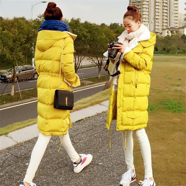 Inverno novo espessamento Coreano plus size mulheres casaco longo de lã de cordeiro jaqueta estudantes cor sólida amassado parkas algodão MZ1128