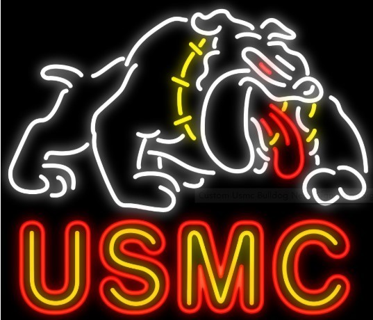 Custom USMC Bulldog Glass Neon Light Sign Beer Bar