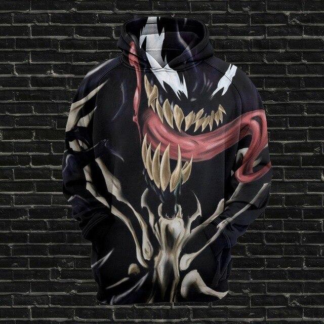 EUA Tamanho Cosplay para o Filme Venom Spiderman marvel anime capuz streetwear Das Mulheres Dos Homens Hoodies Deadpool 3D fortnited Camisolas 5xL