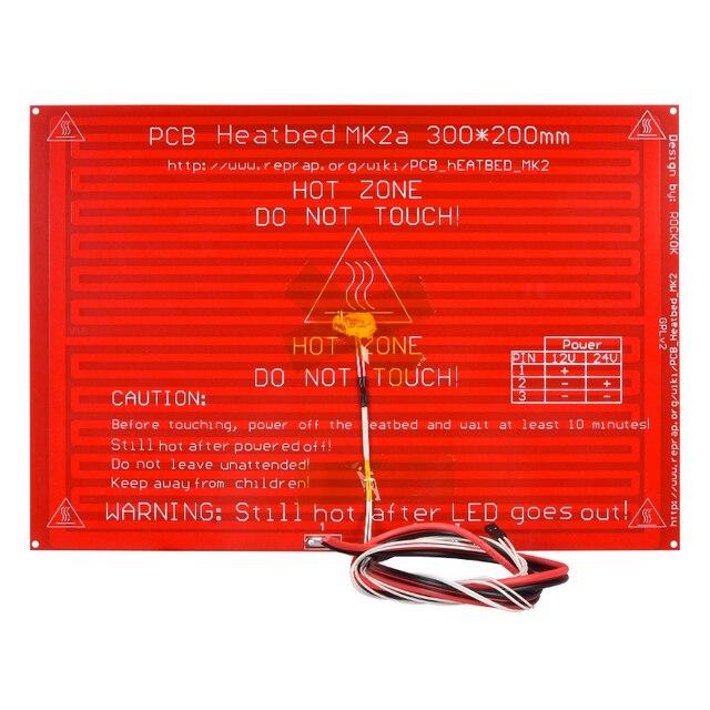 MK2A Heatbed 300*200*2.0 con Resistenza a Led E Cavo Reprap Rampe 1.4 Letto Caldo + 100K ohm Ntc 3950 Termistori per 3D Stampante