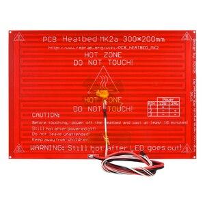 Image 1 - MK2A Heatbed 300*200*2.0 مع المقاوم led وكابل RepRap RAMPS 1.4 سرير ساخن + 100K أوم NTC 3950 الثرمستور للطابعة ثلاثية الأبعاد
