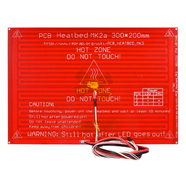 MK2A Heatbed 300*200*2.0 with led Resistor and cable RepRap RAMPS 1.4 hot bed+100K ohm NTC 3950 Thermistors for 3D printer