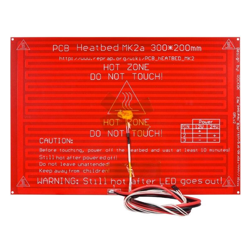 Mk2a heatbed 300*200*2.0 com resistor led e rampas reprap cabo 1.4 cama quente + 100 k ohm ntc 3950 termistores para impressora 3d