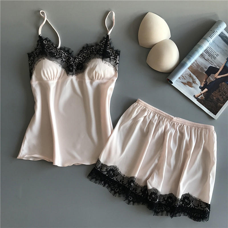 Cotton Two Piece Set Women Sleepwear Silk Pajamas Sexy Chest Pad Nightwear Women 2018 Summer Lace Homewear Women Lingerie