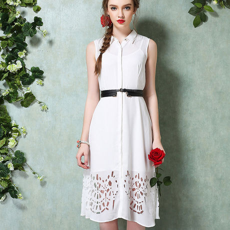 White Vintage Chiffon Dress
