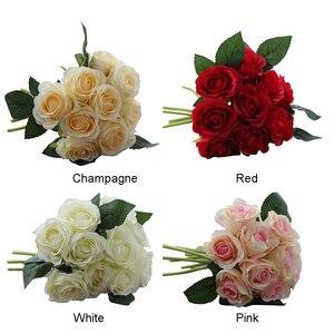 Image 2 - 1 buket 10 adet yapay kırmızı gül kafa çiçek düğün gelin ipek buket doğum günü partisi sevgililer günü ev dekorasyon
