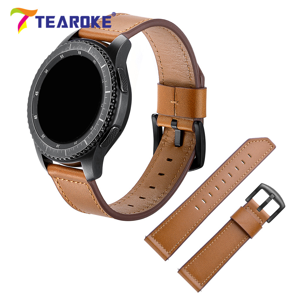 TEAROKE Cow Leather Watchband for Samsung Gear S3 Classic/Frontier 22mm Design Knife Shape Replacement Bracelet Band Strap Black for samsung gear s2 classic black white ceramic bracelet quality watchband 20mm butterfly clasp