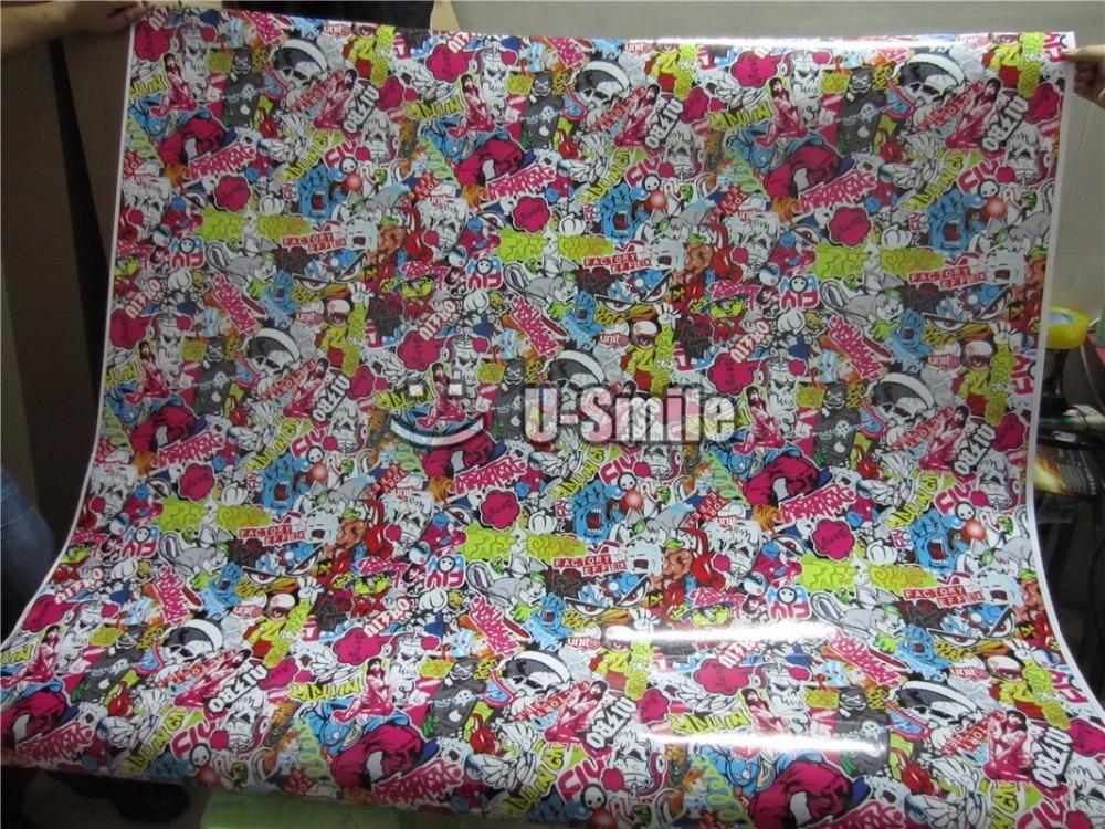 USDM Hellaflush Sticker Bomb Vinyl Wrap Decal Air Bubble Free For Auto Graphics Motorcyle Mcabook 30M/Roll