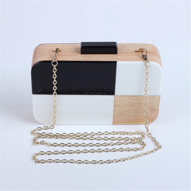 Retro Patchwork Black and White Wooden Clutch Bag Personality Women Evening Bag Party Bag Mini Chain Shoulder Bag Purses Handbag