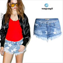 Holiday nightclubs women boyfriend jeans plus size pants stars printed tassel burr low waist no bouncer shorts feminino jeans