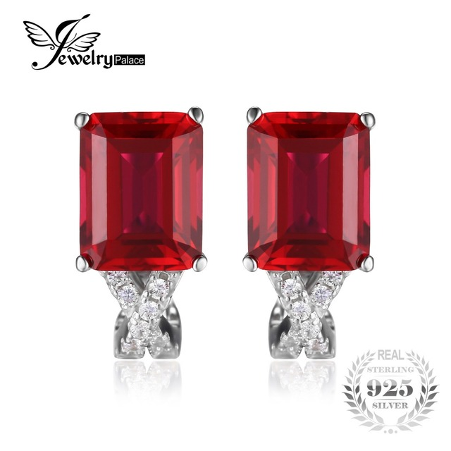 JewelryPalace Emerald Cut 6ct Red Created Ruby Clip On Earrings Real 925 Sterling Silver Wedding Engagement Jewelry For Women