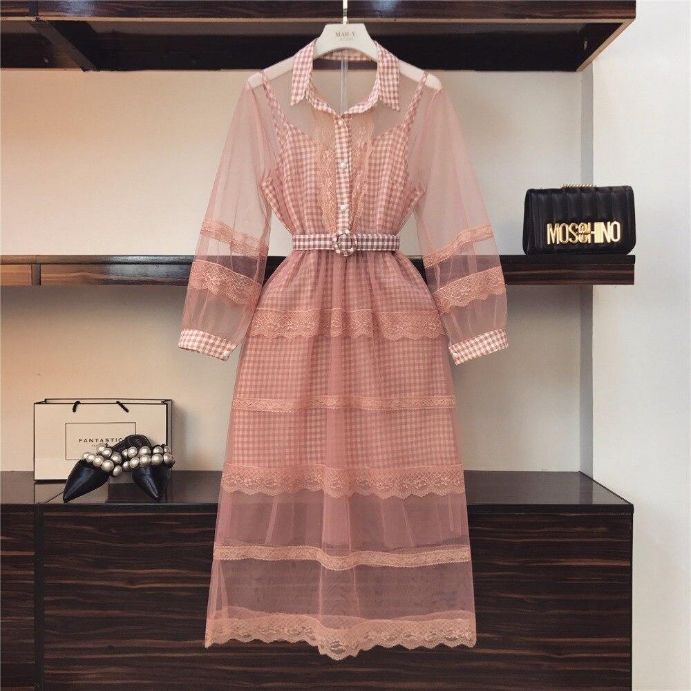 Amolapha Women Ruffles Lace Crochet Organza Dress Plaid Strap Dress 2 Pieces Clothing Sets Suits