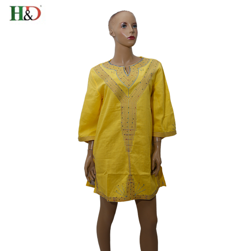 H&D African linen dress for women tops Cotton 100% Gele Georges Kaftan Lady embroidery traditional african clothing bazin riche