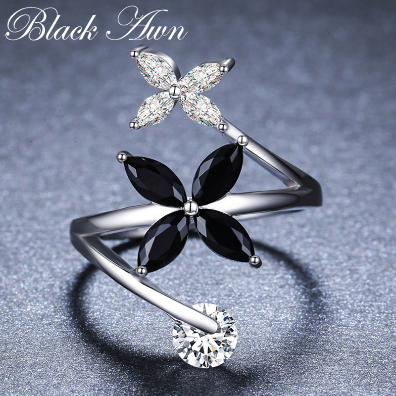 2019 New Romantic 925 Sterling Silver Fine Jewelry Engagement Black Spinel Engagement  Ring For Women Anillos Mujer G055