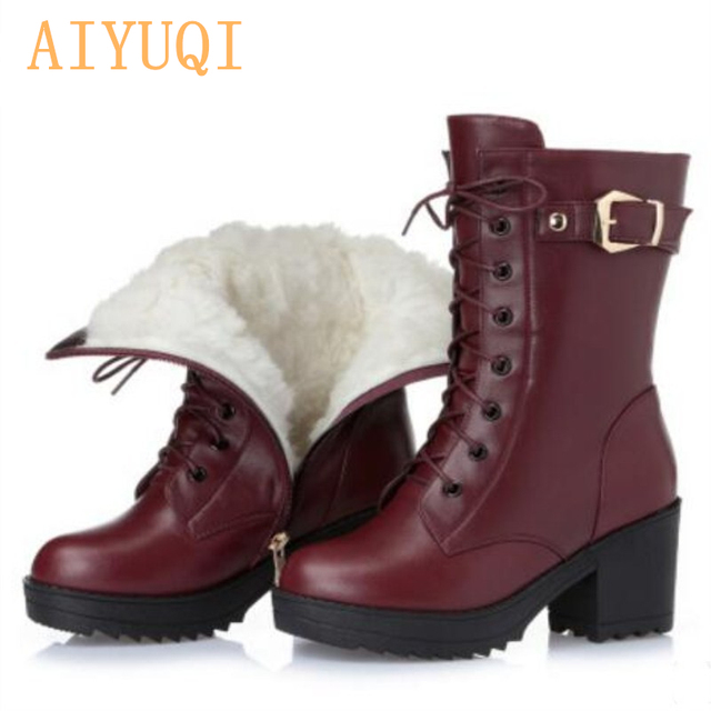 High-heeled genuine leather women winter boots thick wool warm women Martin boots high-quality female snow boots