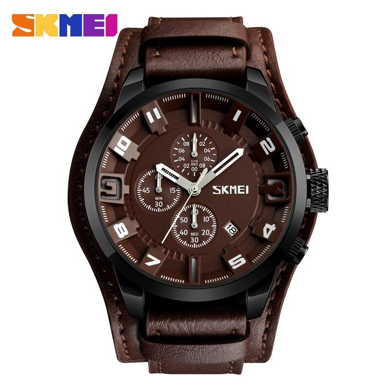 fc84ee79bc0 SKMEI Novo Esporte Relógio de Quartzo Homens Top Marca de Moda de Luxo de Couro  Relógios de Pulso À Prova D  Água Masculino Relógio Relogio masculino em ...