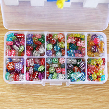 1 Set 10 slots Approx 320pcs Plastic Acrylic Kit Mixed colors Spacer Beads with Box for Children Fit DIY Handmade Jewelry Making