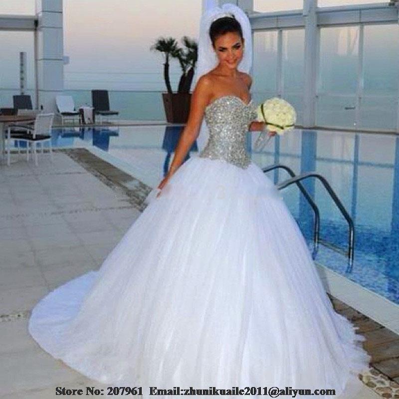 Silver Wedding Gowns: Vestidos De Noiva 2017 White Sweetheart Silver Crystal