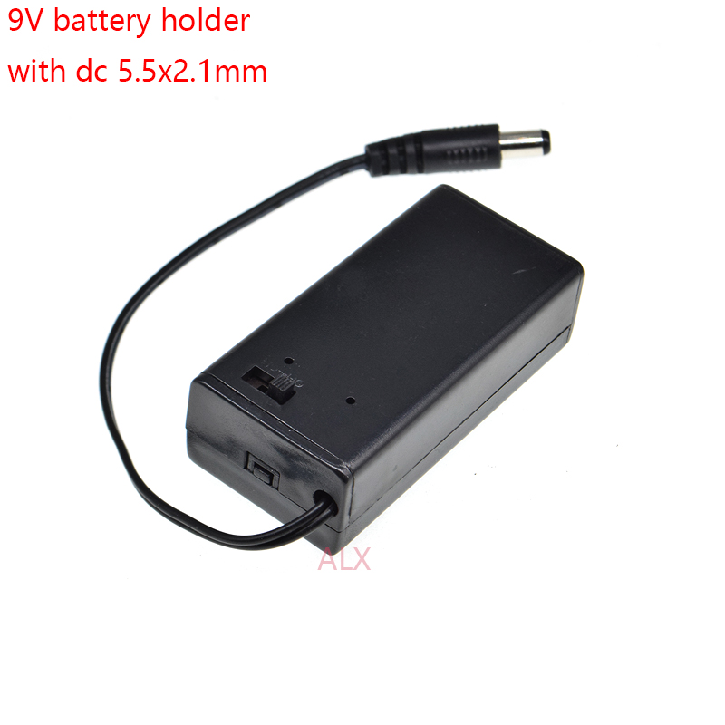9V PP3 Battery Holder Box Case Wire Lead ON//OFF Switch Cover+DC 2.1mm Plug