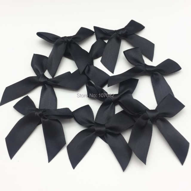 b53bb08df534b US $6.39 5% OFF|100pcs Black Polyester Satin Ribbon Bows Decorative Tail  Bow Butterfly Ties For Doll Hair Accessory Embellishments-in Ribbons from  ...