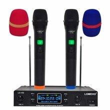 Lomeho LO V02 ru/br/eua armazém 2 handheld vhf freqüências cápsula dinâmica 2 canais sistema de microfone sem fio para karaoke